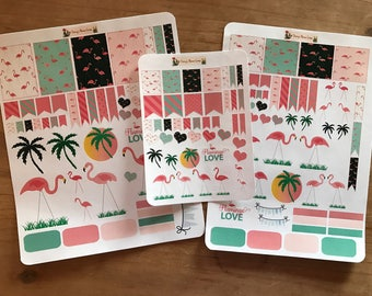 Flamingo planner stickers. Available in pocket / personal  size, classic happy planner / mini happy planner size. Planner accessories