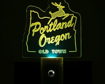 Portland Oregon Old Town Nightlight - Old Town Portland LED Nightlight - White Stag Sign Nightlight - Porland OR Nightlight