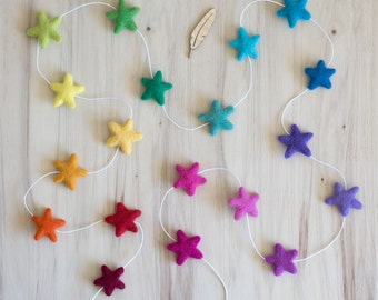 Rainbow Star Garland, Scandi Kids Room Decor, Star Photo Prop, Gender Neutral Nursery Decor, Hippy Rainbow Party, Waldorf Rainbow Felt Stars