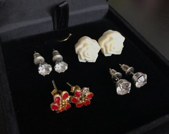 Vintage stud earrings 4 pairs