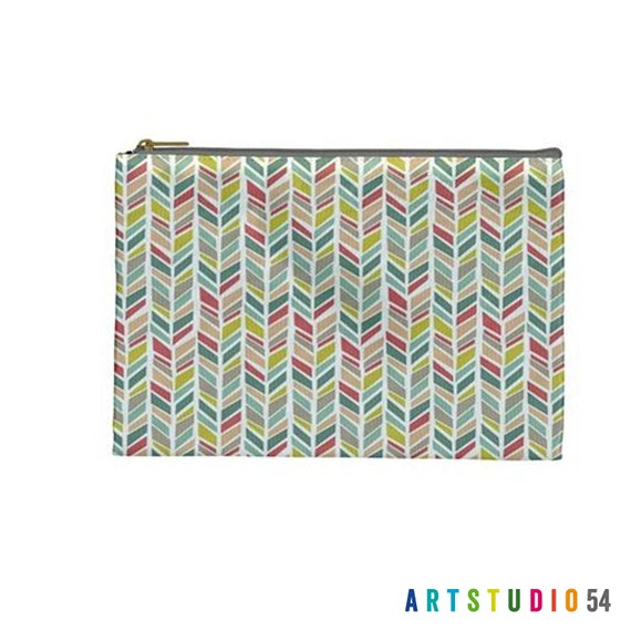 """Pink Teal Yellow Feather on a Pouch, Make Up, Cosmetic Case Travel Bag Pencil Case - 9"""" X 6"""" -  Large -  Made by artstudio54"""