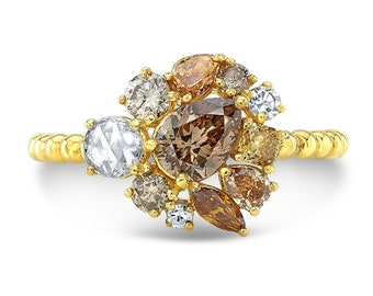 Amber Cluster Ring
