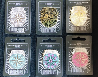 Wanderlust Compass Kit 6 x  Hard Enamel Pin