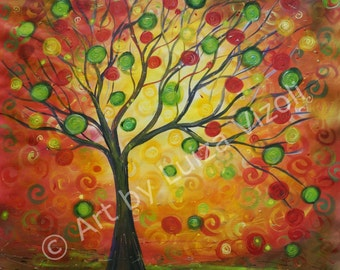Original Painting Large Canvas Tree Sunset Modern Abstract Art 36x36 The Night Before Christmas  by Luiza Vizoli