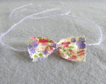 Baby headband tie back halo floral fabric bow cream lilac purple pink green flowers summer photography photo prop newborn toddler girl