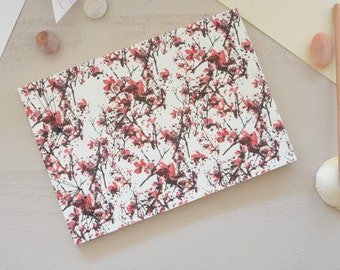 Japanese handbound notebook printed with a red floral pattern, Landscape, choose your paper, for drawing or writing