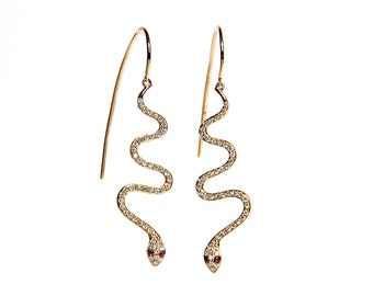 14k Micro Pave Diamond & Ruby Snake Hook Through Earrings- *Made to order*