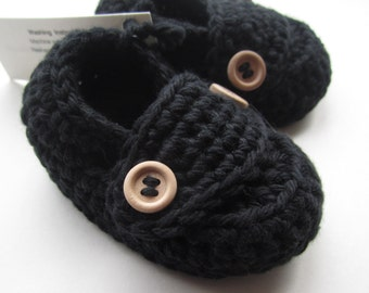Baby Booties Cotton Little Button Loafers in Black Sizes Newborn to 12 months You choose size