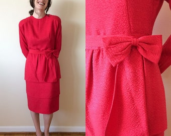 Nipon Boutique 1980s Red Silk Evening dress