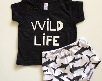 NEW for Summer!! WILD LIFE Collection/Sharks/Baby Shorties Set/Toddler Shorties Set