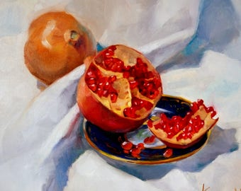 Still life Original Oil painting Pomegranate painting Kitchen Art Office Wall Art Canvas Fruit painting Gift for mom Kitchen wall decor