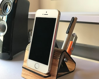 Phone Stand Wood Desk Organizer Personalized Gift Custom Engraving Australian Made