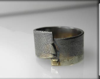 grunge man silver 14K ring, art ring, industrial, rustic jewelry