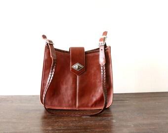 oxblood leather purse - hip bag - crossbody bag - country western boho bag - aztec native american design - saddle bag - Brighton