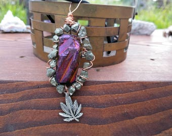 Copper titanium quartz and pyrite wirewrap heady pendant with pot leaf charm- good vibes only