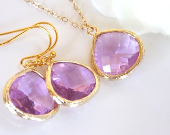Wedding Jewelry Set, Lavender Earrings and Necklace, Violet, Lilac, Purple, Gold Filled, Bridesmaid Jewelry, Pendant Set, Bridesmaids Gifts