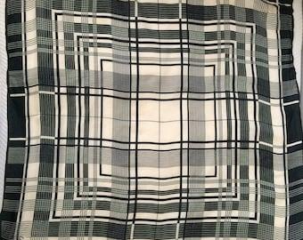 Vintage 1970's black and white geometric scarf