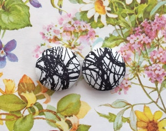Abstract Earrings / Fabric Covered Button Earrings / Black and White / Small Gifts for Her / Wholesale Stock Available / Handmade in USA