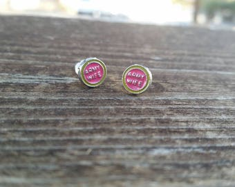 Army Wife Small Round Pink and Green Post Earrings - Gifts for Mom