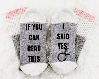 Wine Socks, If You Can Read This Bring Me Wine Socks, I Said Yes, Engagement Gift, Photography Prop, Engagement Announcement, Unique