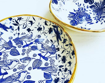 Cobalt Blue, Ring Dish, Gold, Birds, Flowers, Dragonfly, Jewellery Dish, Luxe, Small Dishes, Kitchenware, Soap Dish, Handmade in Australia