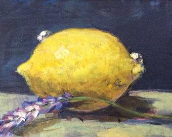 "Lemon painting original art 4 x 6 """