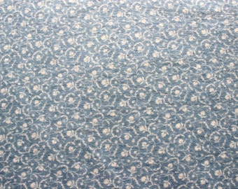 46 X 72 Blue and Ivory Floral Print Cotton Flannel Fabric Remnant