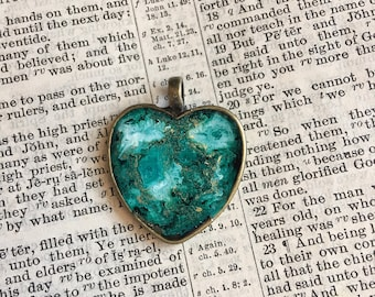 Heart Resin and Ink Pendant with chain