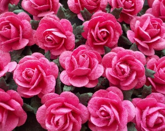 """100! Paper Roses, Fuchsia Pink, Mulberry Paper Roses, Card Making, Embellishments, Pink Paper Flowers, Pink Paper Roses, 20mm /0.8"""""""