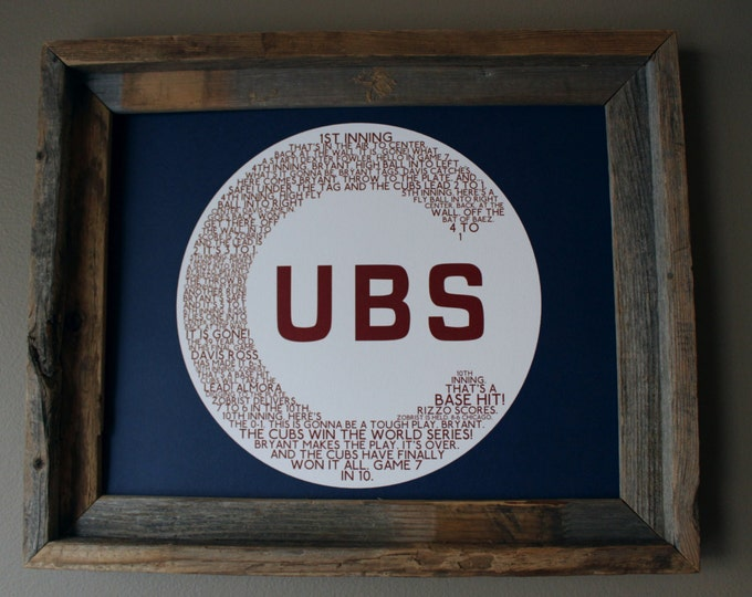 Chicago Cubs 2016 World Series Game 7 Word Art (Blue & Red) - Unframed