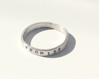 Promise Ring - Sterling Silver Promise Band - Commitment Ring