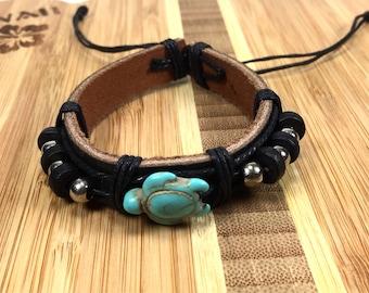 Turtle Bracelet Turquoise Turtle Leather Bracelet-turquoise turtle bracelet-Black Leather Bracelet -black turtle bracelet-