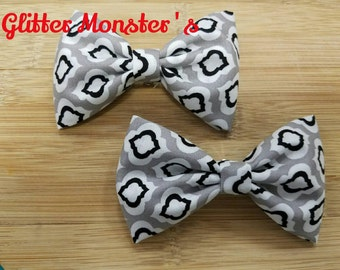 Boys Gray and Black Onyx Bow Tie in Cotton, Ring Bearer Bow Tie, Groomsmen Bow Tie, Wedding Bow Tie, Clip On Bow Tie