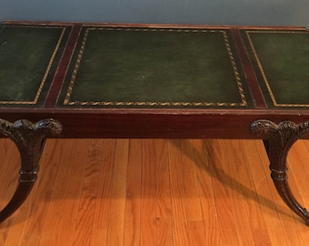 Mahogany Leather Top Coffee Table