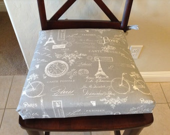 Gray with white cotton twill Paris print chair cushion cover.  Replacement Chair Cushion, Kitchen chair cover, counter stool seat cushion