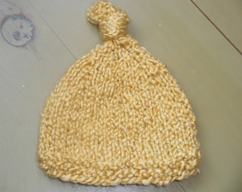 Knotted-Top Hat Photography Prop Hand Knit, Mustard Yellow -38 COLORS-  Baby Boy ~ Girl, Newborn, 0-3,3-6, 6-9, 9-12 months, Original Design