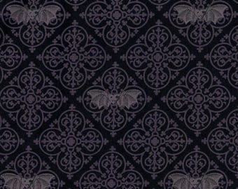 Gothic Vampire Bats on Grey and Black Cotton Fabric by Michael Miller - FQ