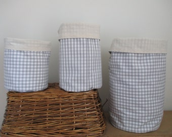 Fabric storage box, round fabric storage basket, fabric nursery storage, reversible fabric storage, neutral colours, frabric organiser,