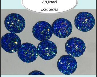 AB Jewel Druzy Round  11.5 - 12mm Bezel Cabochons 10 Pieces - AUSTRALIA