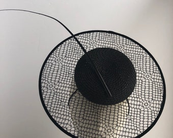 Black Lace Fascinator with Lace Netting with Ostrich Quill