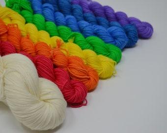 Pre-Orders, hand dyed yarn, handdyed yarn, hand dyed sock yarn, handdyed fingering yarn, hand painted yarn, cashmere yarn, Rainbow Set