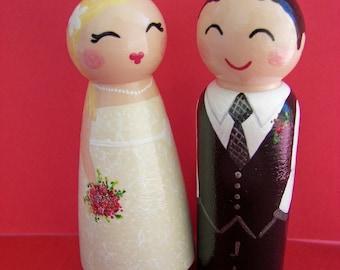 Hand Painted Love Boxes Custom Wedding Bride Groom Cake Topper Peg Dolls Wood