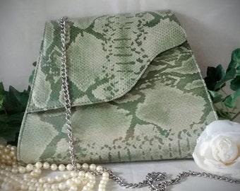 Green-gray Python Print Bag / Bellini Vintage Bag / Snake Print Bag – Never Used