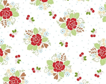 Sale - Red Floral Fabric, Riley Blake Sew Cherry 2, Lori Holt, C5800, Bee in My Bonnet, Red Floral & Cherries Quilt Fabric, Cotton Yardage