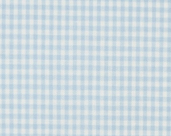 Light blue white cotton fabric 2mm squared small - Vichy Karo