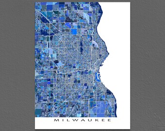 Milwaukee Map, Milwaukee Wisconsin USA, City Map Art Print