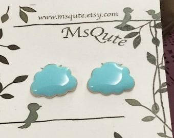 Puffy cloud Earrings - aqua