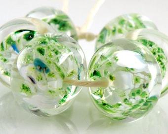 Emerald Glacier Encased SRA Lampwork Handmade Artisan Glass Donut/Round Beads Made to Order Set of 6 10x15mm