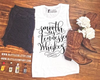 Smooth as Tennessee Whiskey Women's Festival Tank XS-4X Black and White Tanks // Country Girl // Country Concert Tank