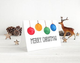 """Merry Christmas Greeting Card - Watercolor Christmas Card """"Christmas Ornament Bulbs"""" Watercolor Greeting Card (Set of 10) - Happy Holidays"""